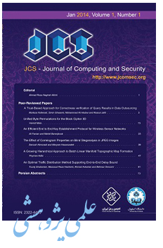 Acceptance of Ms. Samaneh HoseinDoost's paper in Journal of Computing and Security