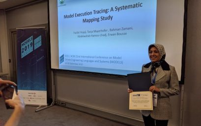Selecting Ms. Fazilat Hojaji's paper as one of the best SoSyM papers in 2019